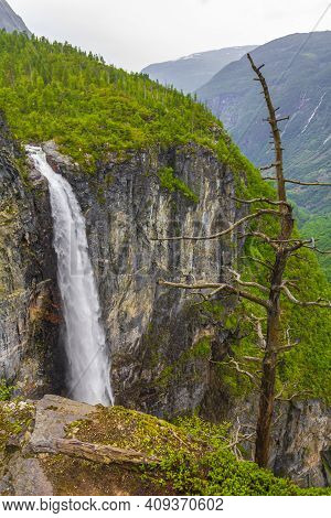 Highest Freefall Waterfall Vettisfossen Behind Trees Utladalen Norway Norwegian Landscapes.