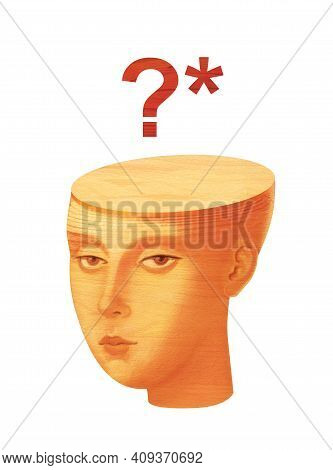 Educational Issues. Humanitarians Versus Techies. Girl With Question Mark In Head. Wood Sculpture Te