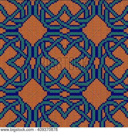 Geometrical Ornate Seamless Knitted Vector Pattern As A Fabric Texture In Turquoise, Orange And Blue