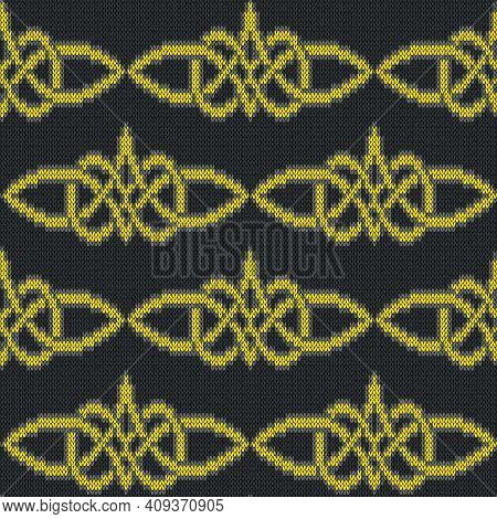 Muted Ornate Seamless Knitted Vector Pattern As A Fabric Texture In Yellow And Grey Colors