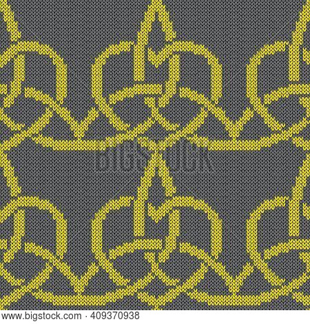 Geometrical Ornate Seamless Knitted Vector Pattern As A Fabric Texture In Yellow And Grey Colors