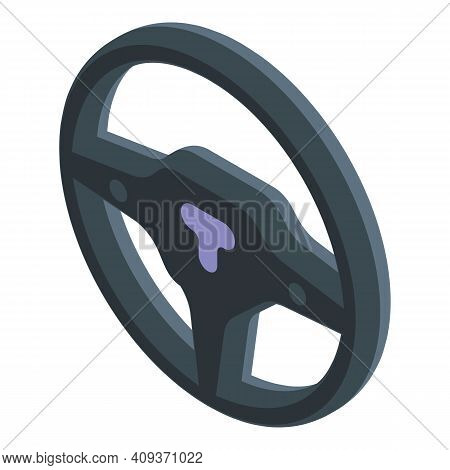Driving Wheel Icon. Isometric Of Driving Wheel Vector Icon For Web Design Isolated On White Backgrou