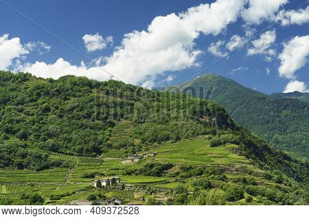 Mountain Landscape At Summer Along The Road Of Aprica Pass, In Sondrio Province, Lombardy, Italy. Vi