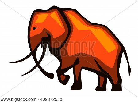 Illustration Of Stylized Elephant. African Savanna Wild Animal.
