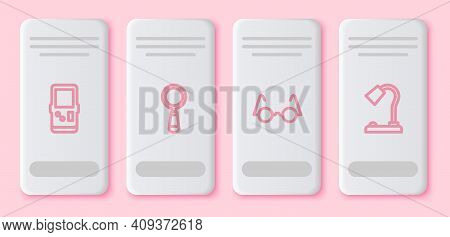 Set Line Tetris, Magnifying Glass, Eyeglasses And Table Lamp. White Rectangle Button. Vector