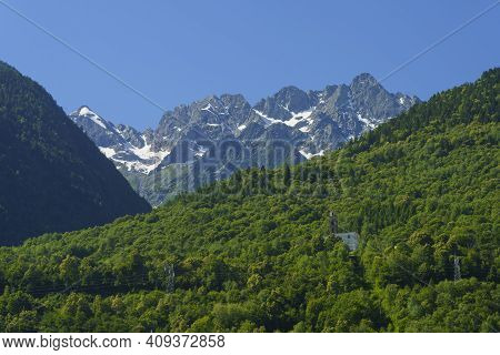 Sentiero Della Valtellina, Sondrio Province, Lombardy, Italy: Mountain Landscape Seen From The Cycle