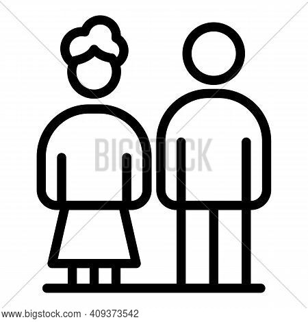Grandparents Icon. Outline Grandparents Vector Icon For Web Design Isolated On White Background