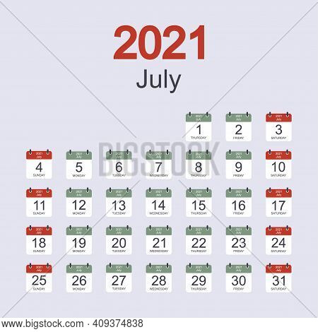 Monthly Calendar Template For July 2021 With Daily Date. Week Starts On Sunday. Flat Style. Vector I