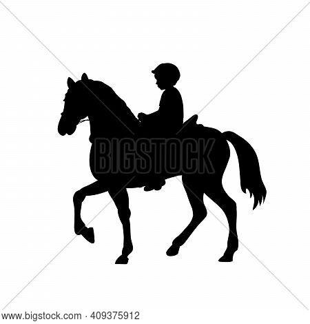 Silhouette Boy Rider Horseback Equitation. Illustration Graphics Icon Vector