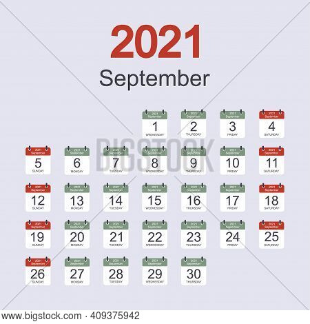 Monthly Calendar Template For September 2021 With Daily Date. Week Starts On Sunday. Flat Style. Vec