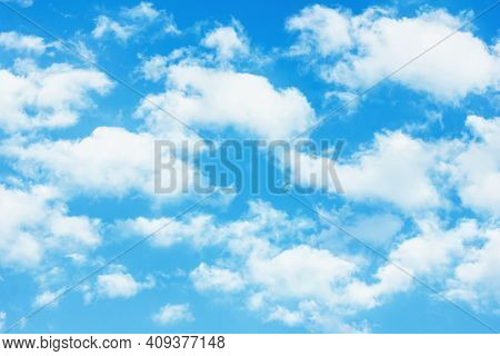 Heaven Background. Cloudy Sky Background. Peaceful Bright Blue Sky Texture. Fluffy Clouds On The Sky