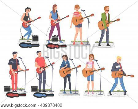 People Street Musicians Characters Playing Guitars Set, Live Performance Cartoon Style Vector Illust