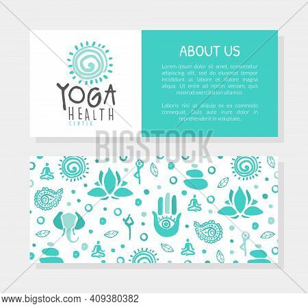 Yoga Health Studio Business Card, Template Design With Front Back Side And Seamless Pattern, Ayurved