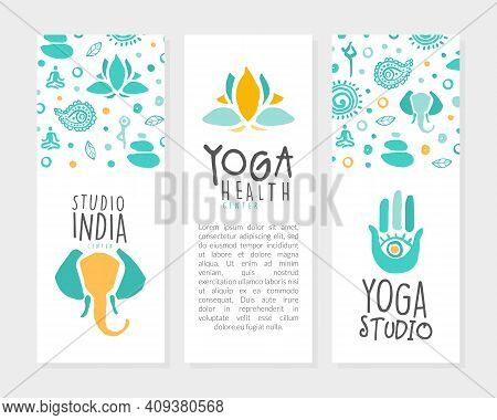 Yoga Health Center Card Templates Set With Space For Text, Meditation Class, Spiritual Practice Can