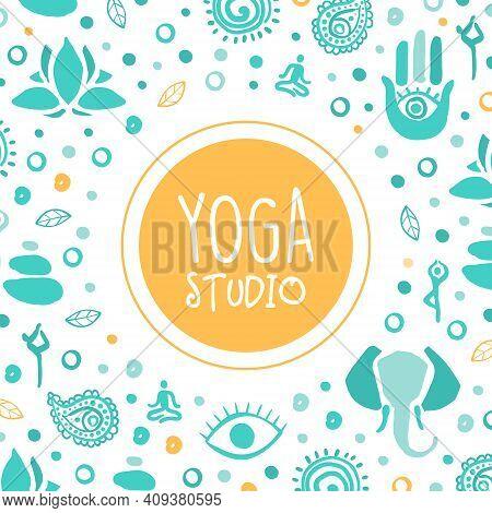 Yoga Studio Banner, Ayurveda, Traditional Medicine, Meditation Class And Spiritual Practice Card, Po