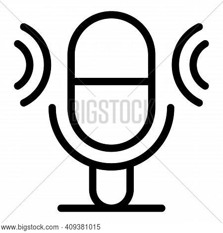 Mic Voice Recorder Icon. Outline Mic Voice Recorder Vector Icon For Web Design Isolated On White Bac