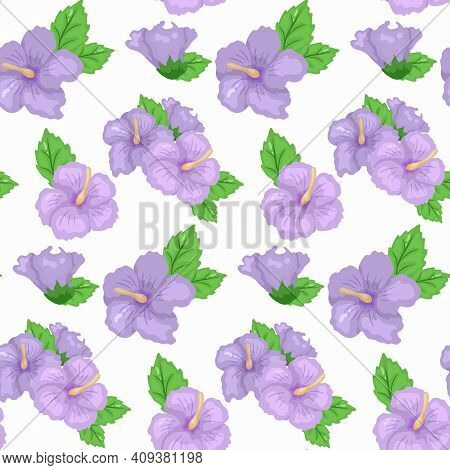 Seamless Hibiscus Floral Tropical Pattern Design. Collection Of Hibiscus Flowers On A White Backgrou