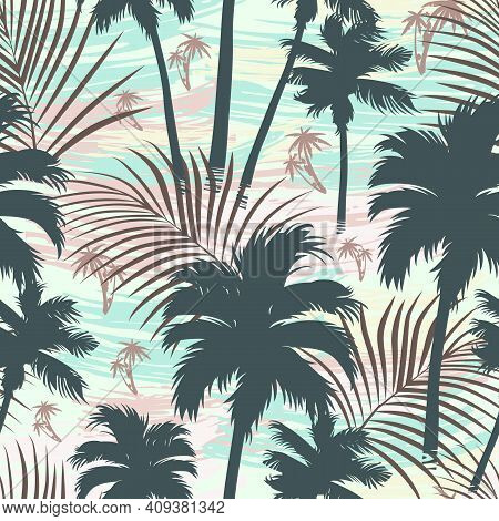 Vintage Tropical Seamless Pattern With Palm Trees And Leaves Silhouettes Vector Illustration