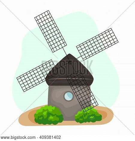 Windmill Cartoon Traditional Rural Windmills. Flour Mill, Grinds Grain. Windmill With Millstones. Gr