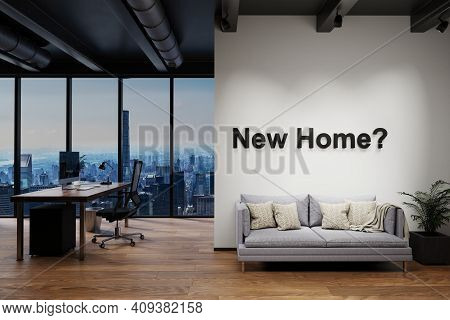 Luxury Loft With Skyline View, Wall With New Home Lettering, 3d Illustration