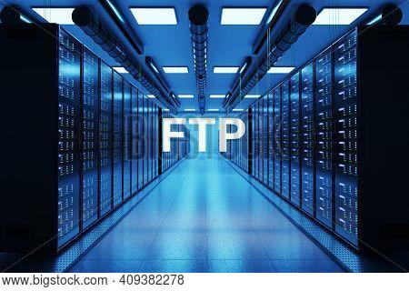 Ftp Logo In Large Modern Data Center With Rows Of Network Internet Server Racks, 3d Illustration