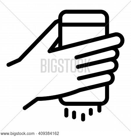 Salting Hand Icon. Outline Salting Hand Vector Icon For Web Design Isolated On White Background