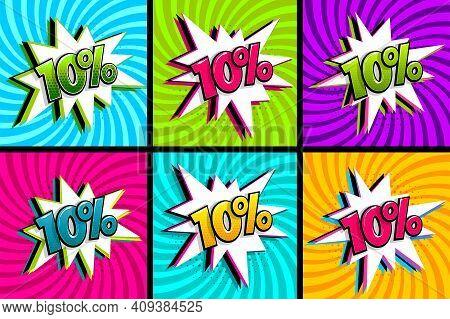 Comic Text 10 Percent Sale Set Discount. Colored Speech Bubble On Radial Background. Comics Book Exp