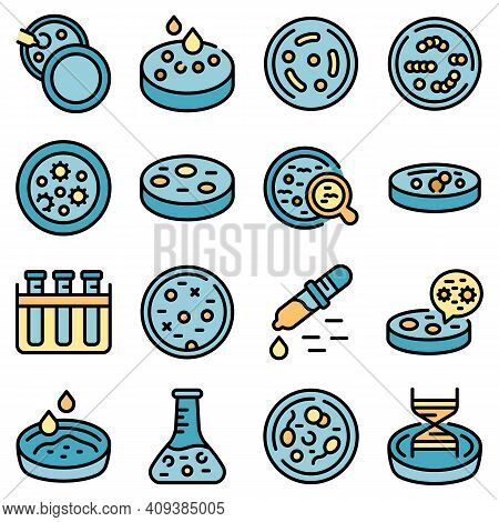 Petri Dish Icons Set. Outline Set Of Petri Dish Vector Icons Thin Line Color Flat On White