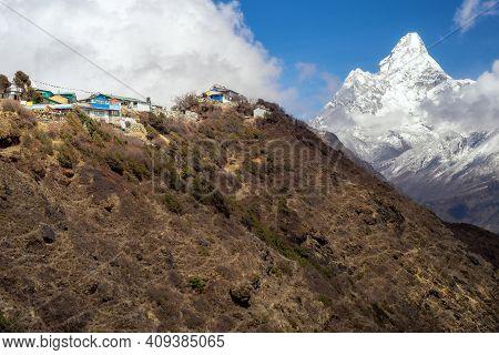 Beautiful Landscape Of Himalayas Mountains. Everest Base Camp Trek. Ama Dablam View Point.