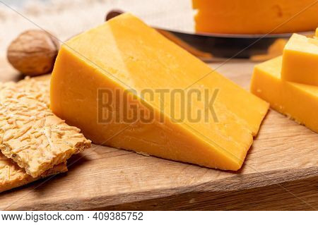 British Red Waxed Yellow Cheddar Cheese Close Up