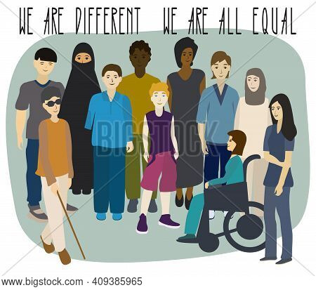 Multi-ethnic Group Of People. Men And Women Portrait. Disabled People. Boy Without Arm. Woman In A W