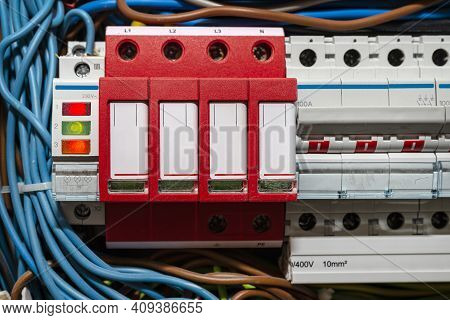 Surge Arrester Used To Protect The Electrical System In The Building During Electrical Discharges, S