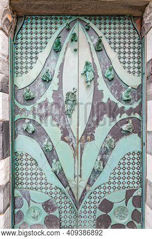 Cityscape. Close Up View Of Front Door Of Sain Peter Church In Portovenere (porto Venere) Italy
