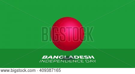 3d Red Ball With Green Background Design For Bangladesh Independence Day. Good Template For Banglade