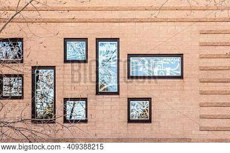 Denver, Colorado - January 31, 2021: Beautiful Windows Of Aish Denver - Orthodox Synagogue In Greenw