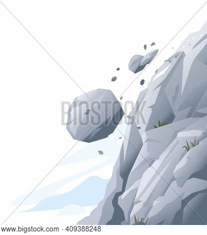 Gray Rock With Stones Falling Down, Natural Hazard From Falling Stones, Danger In Mountains Concept,