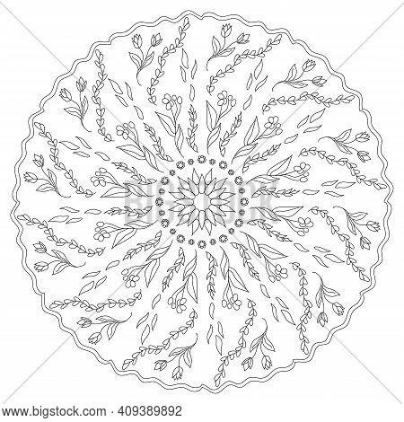 Mandala Flower Antistress. Beautiful Doodle Spring Mandala. Ethnic Decorative Elements. Coloring Pag