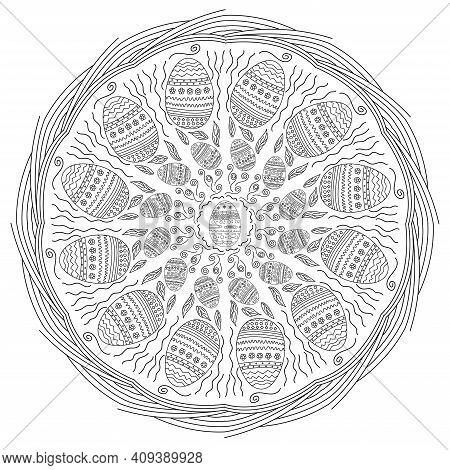 Mandala Easter. Abstract Happy Easter Doodle Mandala. Asian Ethnic Floral Retro Doodle Background Pa