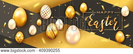 Golden Lettering Happy Easter On White Card And Hanging Golden Easter Eggs On Holiday Black And Gold