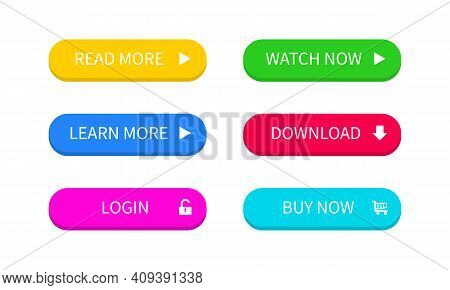 Ui Buttons. Colored Trendy Flat Button. Buy, Now And Learn, More. Download And Read, More. Vector Ep