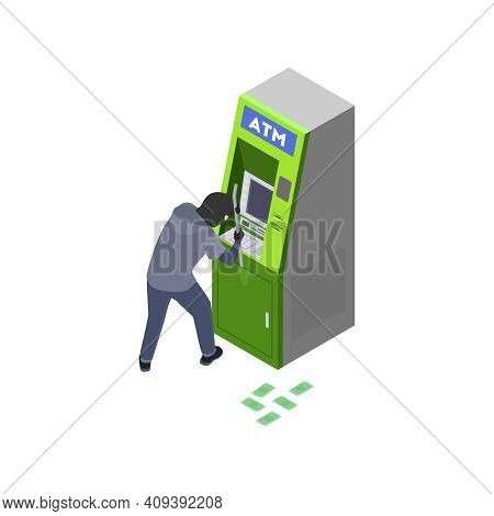Gang Crime Robbery Stealing Isometric Composition With Character Of Thief Robbing The Atm Vector Ill