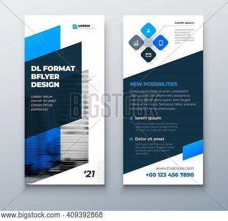 Dl Flyer Design Layout. Black Blue Dl Corporate Business Template For Flyer. Layout With Modern Elem