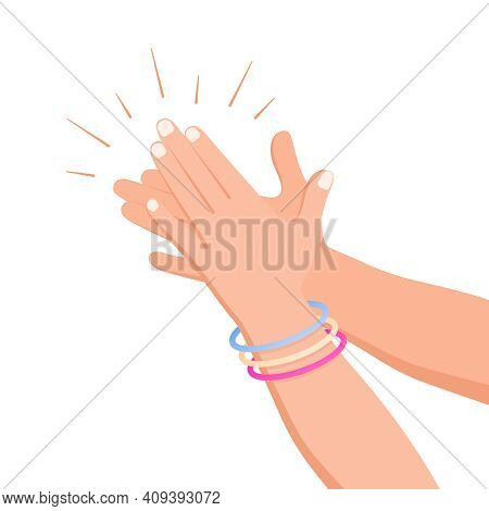 Clapping Hands Applause Flat Composition With Isolated Human Hand Images On Blank Background Vector