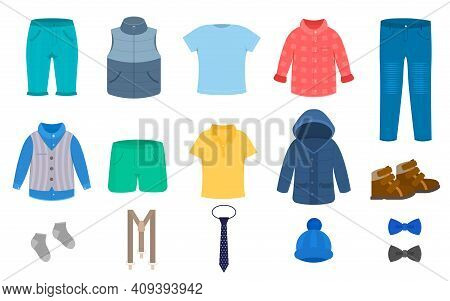 Cartoon Color Clothes Boys Icon Set Flat Design Style Include Of Pant, Shirt, Shoes, Jeans And Socks