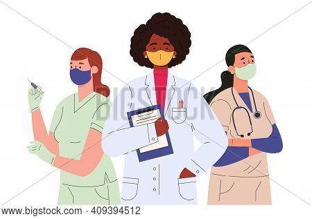 Doctors And Nurses Characters In Medical Face Mask. Medical Team, Professional Hospital Workers, Gro