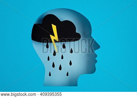 Papercut Head, Adult Depression Concept. Mental Health Problems, Psychology, Mental Illness Idea