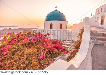 Santorini, Greece. Sunset Landscape Of Traditional Cycladic Santorini Dome With Flowers And Stairs I