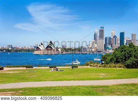 The famous Sydney Harbor. Boat trip on a tourist boat along the picturesque shores of the port. Australia. Sydney is the capital city of New South Wales.