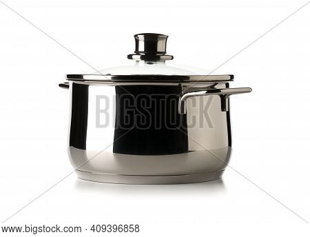 Empty Stainless Steel Cooking Pot With Glass Lid Over White Background, Cooking Or Kitchen Utensil,