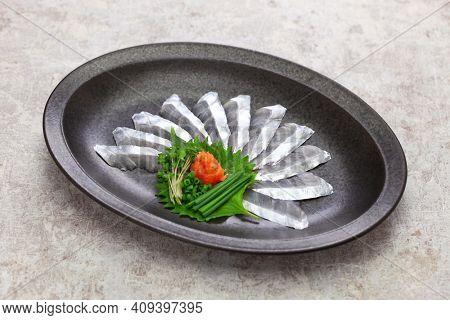cutlassfish ( tachiuo ) sashimi, japanese cuisine